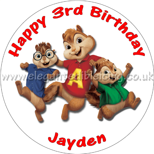 ALVIN AND THE CHIPMUNKS CAKE TOPPER PERSONALISED EDIBLE ROUND BIRTHDAY CAKE TOP